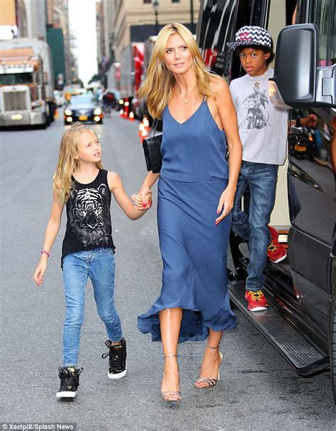 Heidi Klum Slips Into Slinky Blue Cocktail Dress She