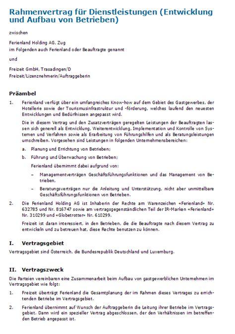 dienstleistungsvertrag vorlage nach schweizer recht zum