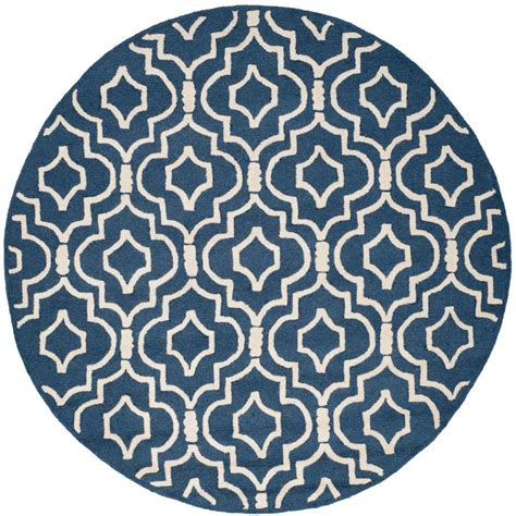 Blue Round Rugs 6 Feet by Safavieh Cambridge Navy Blue Ivory 6 Ft X 6 Ft Round