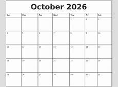 October 2026 Printable Monthly Calendar