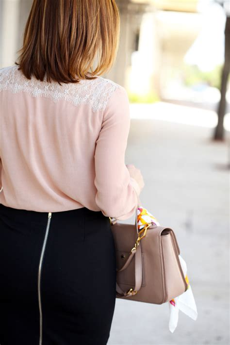 bow sleeve top bow and lace blush blouse black pencil skirt blame it