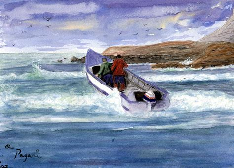 Dory Boat Cape Kiwanda by Dory Boat Heading To Sea Painting By Chriss Pagani