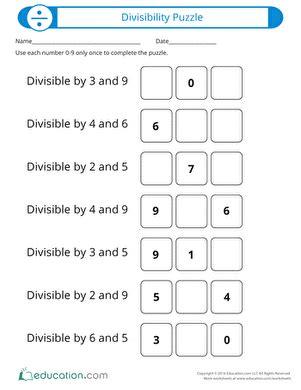 Divisibility Puzzle  Worksheet Educationcom