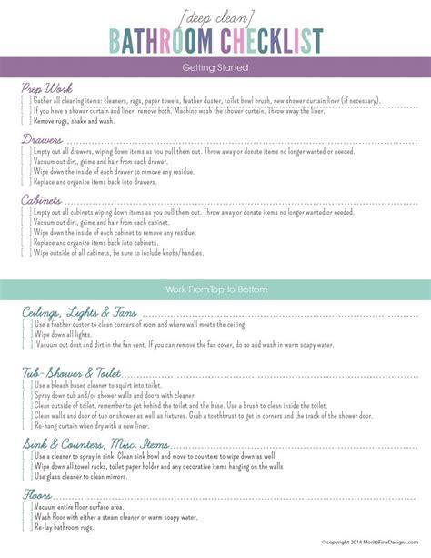 deep clean  bathroom checklist  printable