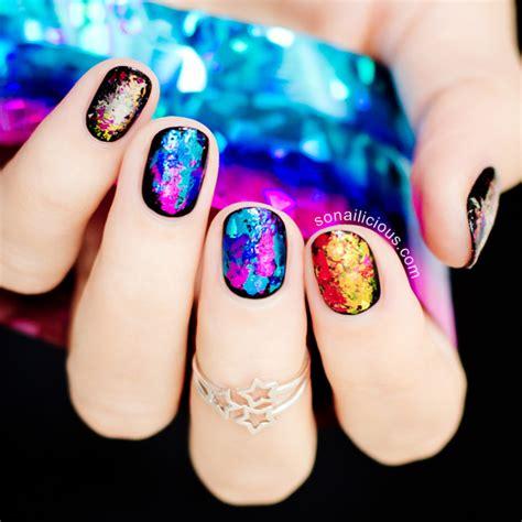 brilliant foil nail designs    weekend