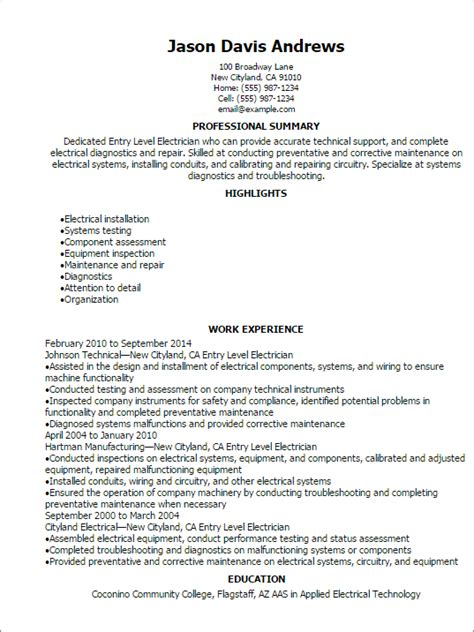 Entry Level Resume Template Entry Level Electrician Resume Template Best Design