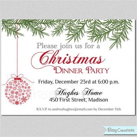 free christmas dinner invitations items similar to christmas dinner printable invitation