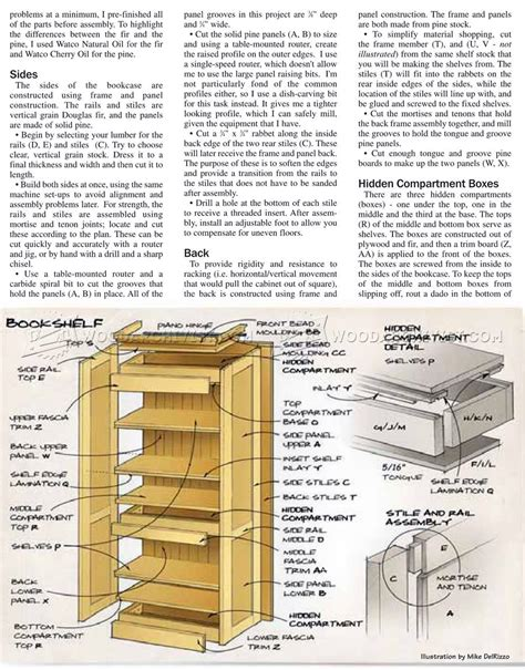 hidden compartment bookshelf plans woodarchivist
