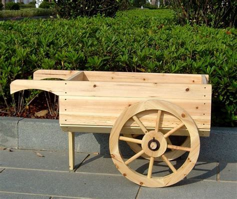 wooden wheelbarrow planter decorative display cart
