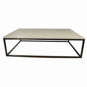 seagrass stone top coffee table on blackened metal base With stone and metal coffee table