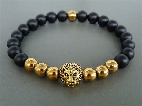 Lion Bracelet Gift For Him Mens Gold & Black Bracelet Jewelry Armoire Hand Painted Brighton Ontario Canada Kelowna Joyus Reviews Tarnish Chicago At Bed Bath And Beyond Store