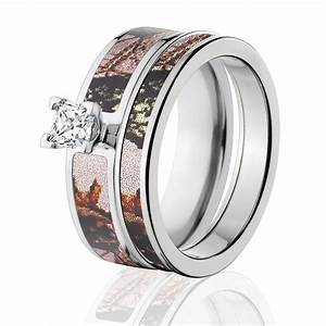 mossy oak pink break up camo bridal set pink camo ring sets With pink mossy oak wedding rings
