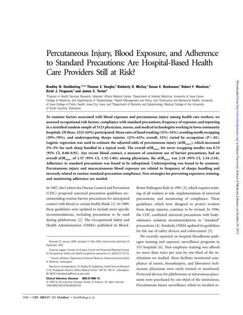 (PDF) Percutaneous Injury, Blood Exposure, and Adherence