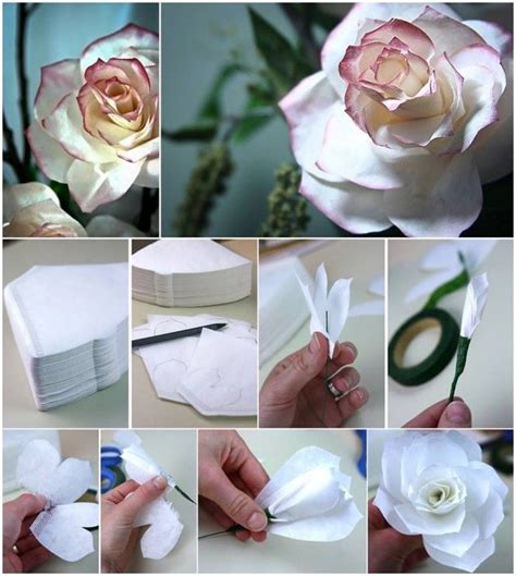 diy flowers  coffee filters pictures