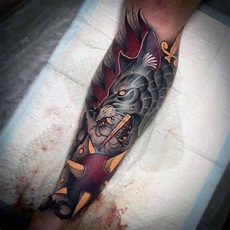 neo traditional wolf  badass  sleeve tattoos