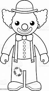 Clown Coloring Circus Outline Vector Illustration sketch template