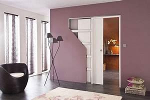 porte interieure coulissante une idee pour gagner de la With porte d entrée alu avec meuble salle de bain largeur 100