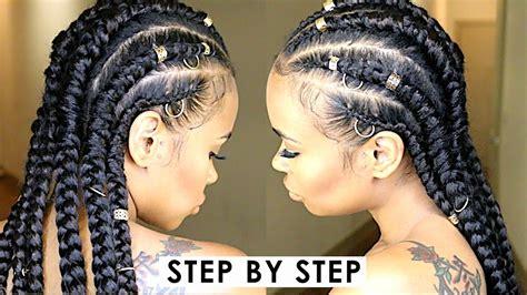 Easy Step By Step Jumbo Feed-in Cornrow Braids! (natural
