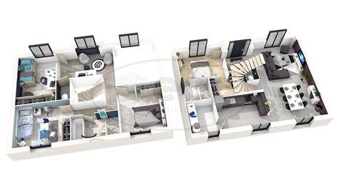 chambre 3d plan d 39 une maison en 3d avec 5 chambre maison moderne