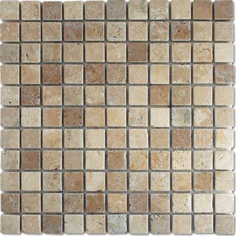 antique white brown tumbled wall floor mosaic