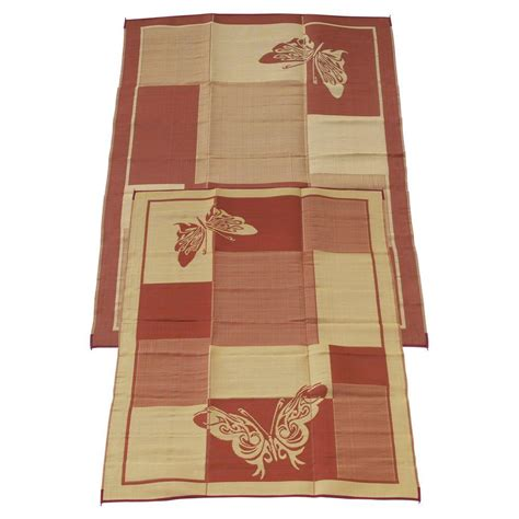 fireside patio mats elegant butterfly burgundy and coral 9