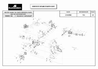 Mcculloch Parts Chainsaw Gas Chain Saw Literature