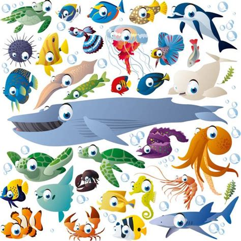funny cartoon sea creatures  fish vector stuff