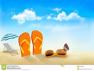 Flip Flops, Sunglasses, Beach Chair And A Butterfl Stock ...