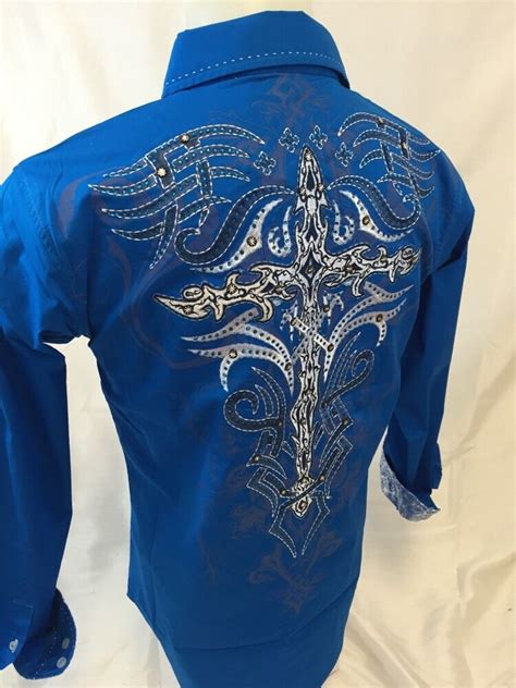 mens victorious tribal cross button  shirt stones blue