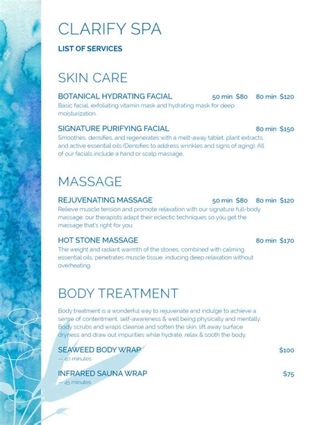Spa Menu Of Services Template by Spa Menu Templates And Designs From Imenupro