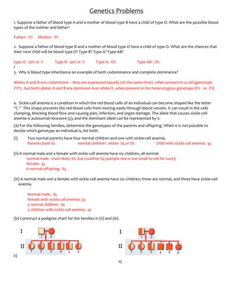 Genetic Problems Worksheet And Answer  The Large And Most Comprehensive Worksheets