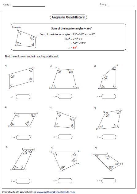 missing angle quadrilaterals quadrilaterals worksheet