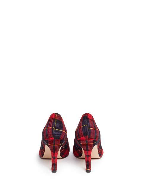 pedder red tartan plaid pumps  sale red pump high heels womenswear lane crawford