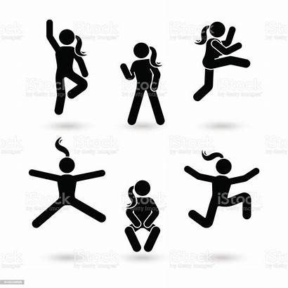 Stick Figure Jumping Happiness Woman Vector Pictogram