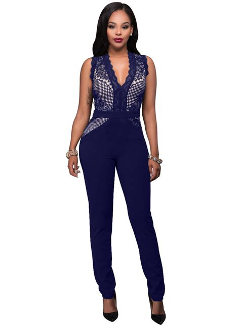 colorful jumpsuit fashion sleeveless lace splicing solid color jumpsuit