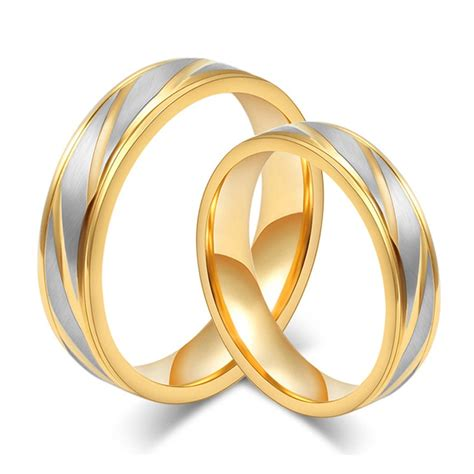 gold color custom alliance stainless steel wedding bands