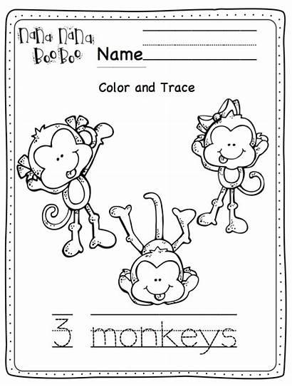 Monkeys Five Printable Tree Swinging Printables Preschool