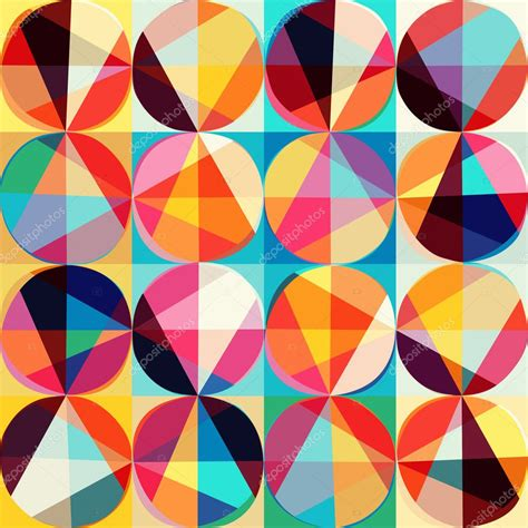 Abstract Geometric Shapes Pattern by Vector Geometric Pattern Of Circles And Triangles Colored
