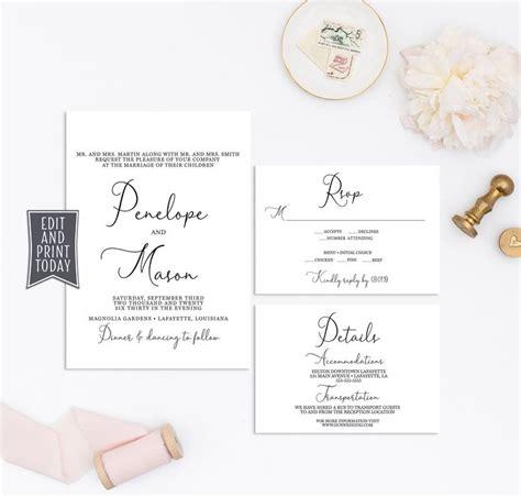 Elegant Wedding Invitation Set RSVP & Details Card