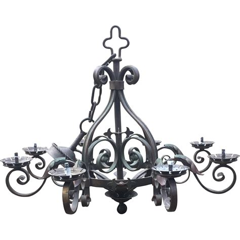 rustic wrought iron 8 light castle chandelier
