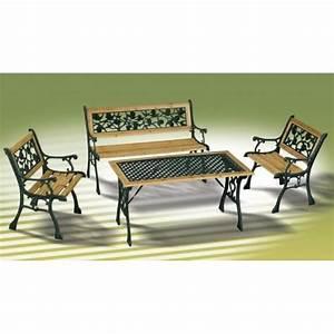 Table Et Banc En Bois : ensemble bois et fonte table fauteuils et banc achat ~ Melissatoandfro.com Idées de Décoration
