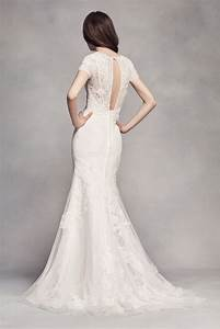 White by vera wang long sleeve lace wedding dress david39s for White by vera wang short lace wedding dress