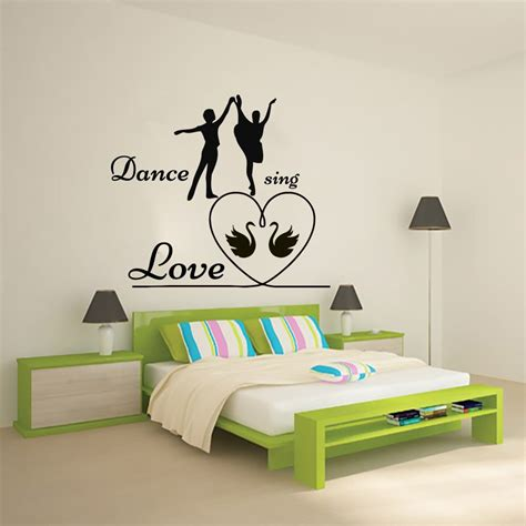 Dance love the wall sticker is made of good quality of pvc material. Man And Woman Dance Sing Love Bedroom Wall Sticker PVC Removable Romantic Home Decor Two Swans ...