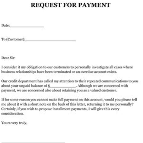 request  payment letter sample small business  forms