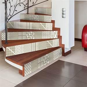 Escalier Carreaux De Ciment : stickers escalier carreaux de ciment fjola x 2 ambiance ~ Dailycaller-alerts.com Idées de Décoration