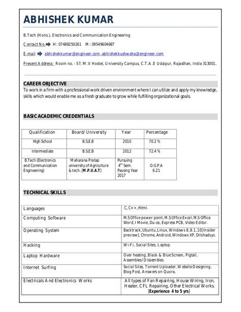 Technical Skills In Resume For Ece by Ece Resume
