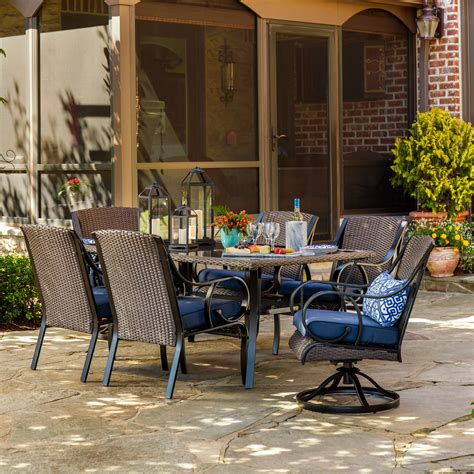 la z boy outdoor 7 pc dining set denim limited