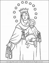 Coloring Lady Carmel Mary Rosary Pages Catholic Mt Beads Mount Sheets Church Adult Christian Mother Thecatholickid Feast Blessed Saint Holy sketch template