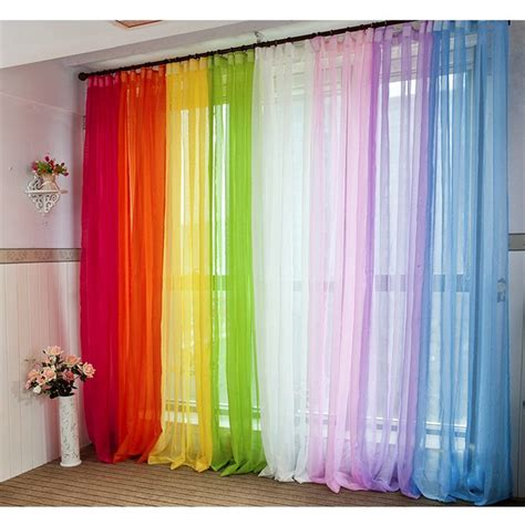 colored kitchen curtains aliexpress buy 200 100 cm solid color chiffon 4113