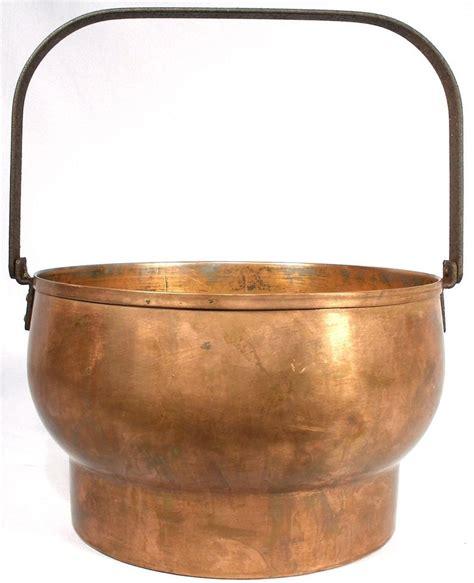 antique unique wood stove copper brass cast iron cauldron kettle pot bail handle copper kettle
